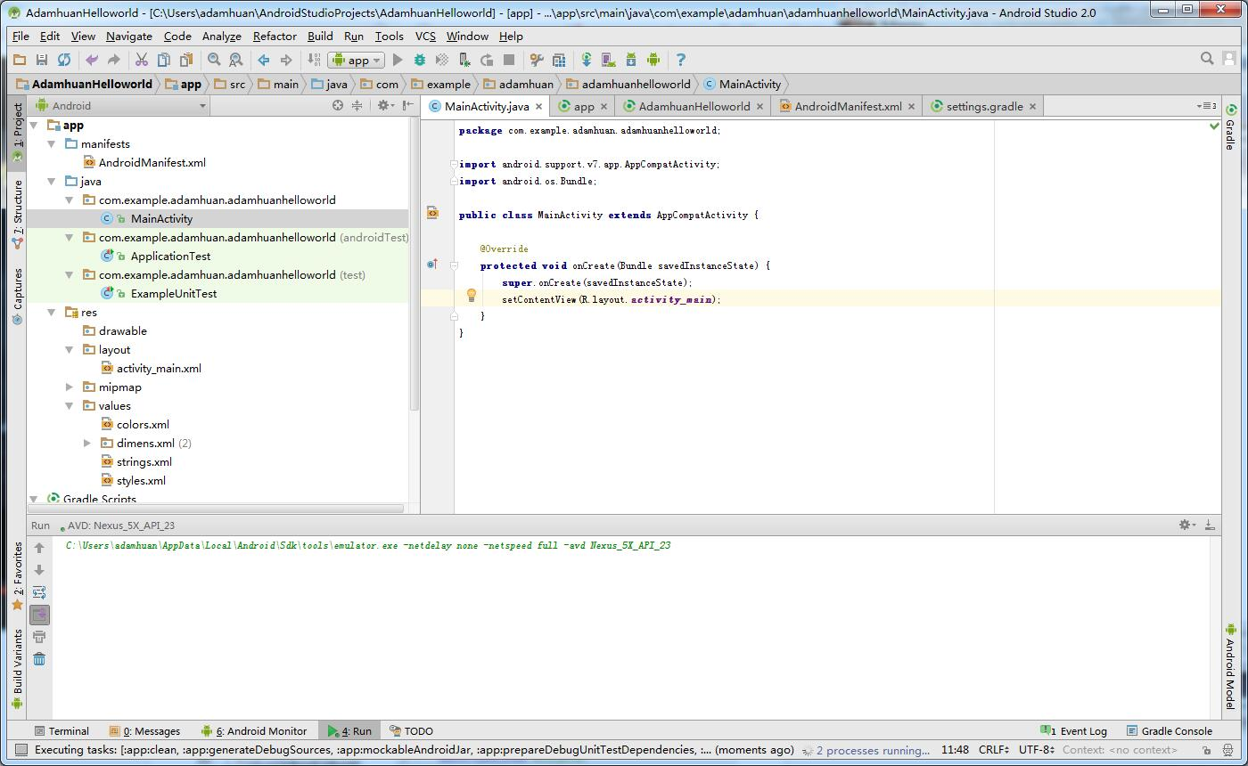 Android_studio_AdamhuanHelloworld_7_1
